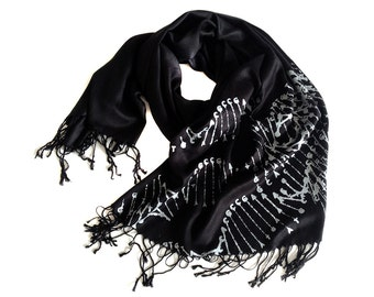 DNA scarf. DNA double helix silkscreened soft pashmina. Science teacher, genetics, medical student gift, cryptozoology fan.