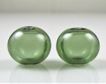 Eel Green Lampwork Glass Bead Pairs