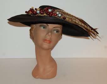 Vintage 30s 40s Black Pheasant Feather and Fruit Beads Hat