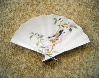 Vintage Fan Plate With a Bird On a Cherry Blossom Branch
