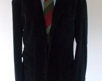 "Blazer de terciopelo negro italiano Vintage chaqueta con rayas finas de Koxl en Italia 42"" pecho grande"