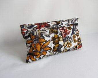 Sale Abstract Clutch Wild Floral Print Pleated in Amber, Goldenrod, and Cinnamon