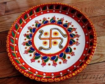Shree ganesh pooja thali decorative henna mehndi design swastika pooja thali decorative henna mehndi design thali festive homedecor nikah shadi junglespirit Image collections