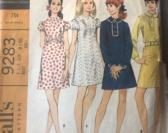 Vintage 60s McCall's 9283 Dress Pattern-Size 9/10 (30 1/2-24-33 1/2)