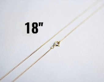 """14K Gold Necklace -  Gold Filled Curb Chain - Dainty & Petite - 18""""  - Ships IMMEDIATELY from California - CH670"""
