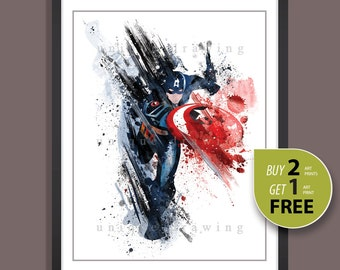 Superhero Captain American, Captain America print, Captain America poster, Avengers poster, Avengers print, Kids Decor, Nursery Decor, 3504