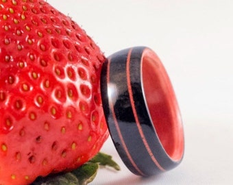 Wood Ring Hybrid Ebony Ring German Purple Glass Inlay