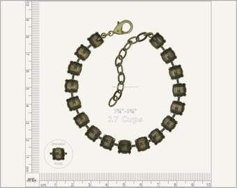 1 pc.+ 17 Cups, SS39 (8mm) Empty Cup Chain for Bracelet - Antique Brass color