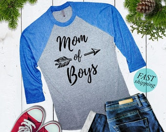 Cute Mom of Boys Baseball Shirt Mom of Boys Raglan Shirt 3/4 Sleeve Mother of Boys Shirt Cute Christmas Gift For Mom of Boys