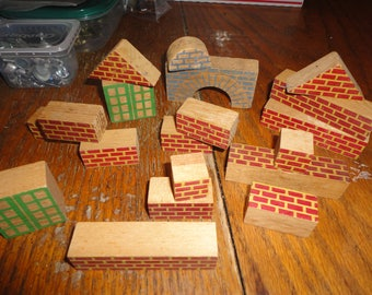 SALE ! Old wooden toy miniature buildings houses blocks