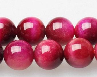 South Africa Rose Red Tiger eye Beads - 15'' Full Strand - Genuine Natural Stone bead Tigereye