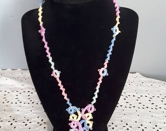 20 inch necklace tatted pastel colors