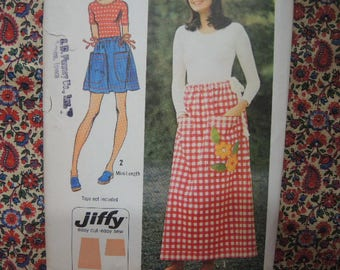 vintage 1970s simplicity sewing pattern 5123  jiffy drawstring skirt in two lengths one size