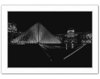 Fine Art 'Giclee' Print of The Louvre Museum, Paris, France, Pyramid - A4 size - A0 size