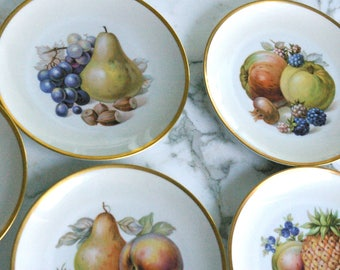 Fruit Platter 5 Set/antique plate 20s/gold border decor antique/dish bowl porcelain art/pineapple pear/Rosenthal Ungem.