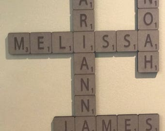 Custom MDF Scrabble Name Tiles Hanging Wall Decor up to 4 Names