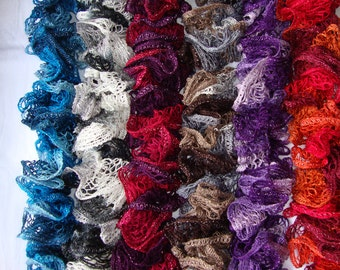 Womens and Girls Knitted Ruffle Scarf