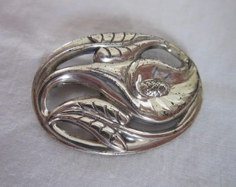 Antique Sterling Silver Lily Flower Brooch