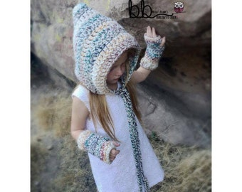 Pixie Hat and Fingerless Gloves - PATTERN ONLY - Crochet - Size: Toddler, child and adult