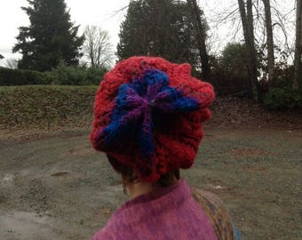 Knitted Lace Slouch Hat