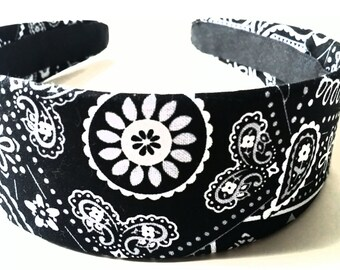 Black White Bandana Headband 2 Inch