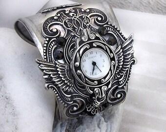 Gothic Watch silver cuff Watch bracelet women watches mens cuff watch black watch gothic Jewelry wrist watch Wings watch wife