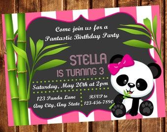 Panda Invitation, Panda Birthday Party, Panda Birthday Invitation, Panda Invite, Panda Party Invitation, Panda Birthday, Panda Party