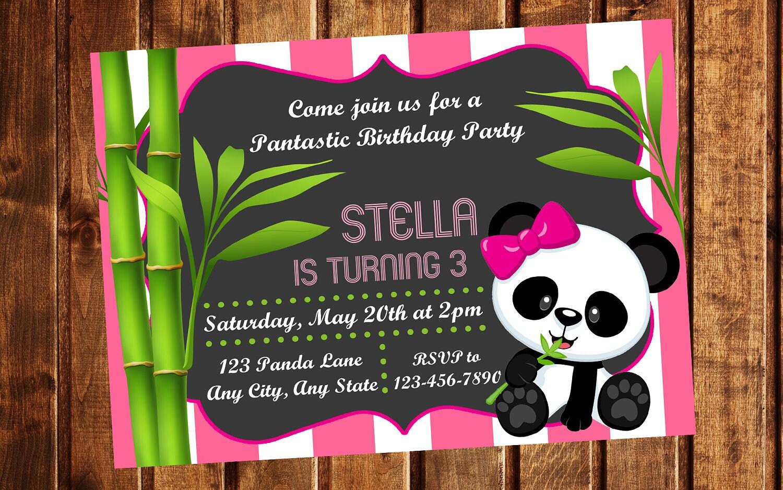 Panda Invitation Panda Birthday Party Panda Birthday