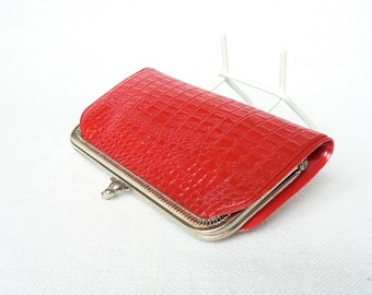 RED WALLET Vintage/ Leather Imitation Coin Purse/ Metal Frame & Clasp/ Vintage Accessory/ USSR 1980s