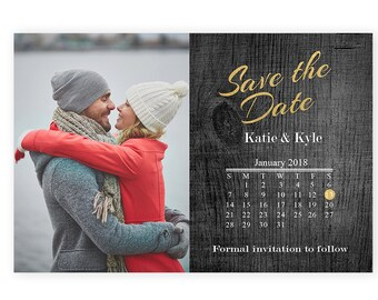 Calendar Save the Dates, Wedding, save the date photo, gold Save-The-Dates, printable, postcard, Photo save-the-date, DIY, (10063)