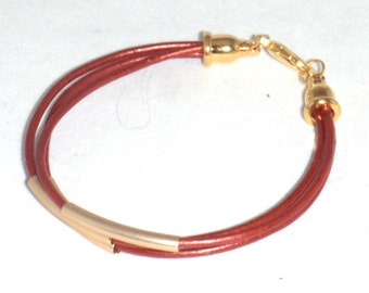 Metalllic Moroccan Red Leather Cord and Gold Slider Multistrand Bracelet