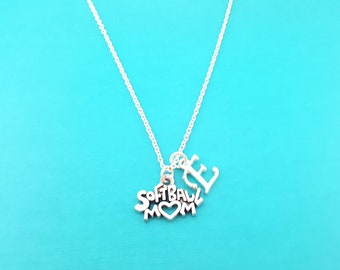 Softball Mom Necklace - Mom Necklace - Softball Charm - Softball Necklace - Softball Mom- Personalized Custom Initial Silver Necklace - Gift