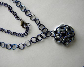 sale Shades of Blue Niobium Jump Rings and Hex Nuts Long Necklace, Hardware Steam Punk Unique Dark Blue, Navy Light Blue
