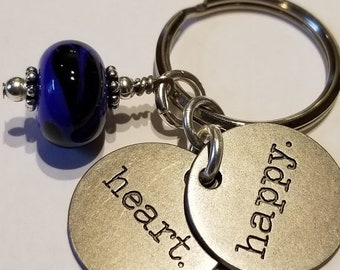"Keychain, Handmade Glass Bead, w/ 2 words: ""Happy"" & ""Heart"""