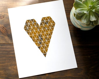 Geo Gold Foil Heart Print // Distressed Gold Print Triangle Heart // Modern Wall Art Print Gold 8x10""