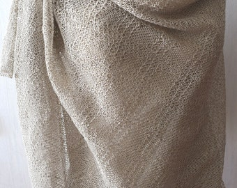 Linen Shawl Grey Knitted Natural  Summer Scarf Wrap for Women