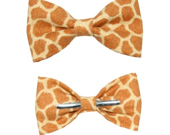 Giraffe Print Clip-On Cotton Bow Tie - Choice of Men's Boys or Toddler Bowtie