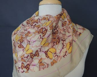 Echo Vintage Square Sheer Silk Scarf Multi Paste Colors l Butterfly Pattern