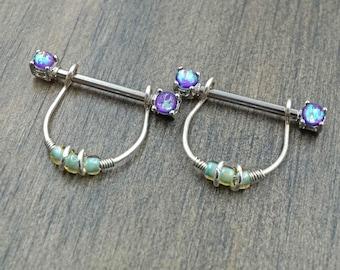 Purple Opal Glitter Silver Nipple Ring Nipple Piercing