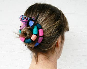 Large Hair barrette, Funky Hair stick, Shawl pin brooch, Flexible bun wrap, Bun hair style, Colorful fascinator Purple Pink Turquoise blue