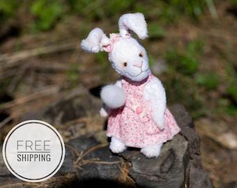Artist bunny rabbit Teddy bunny Teddy bear White teddy bunny rabbit Bunny in a dress Artist teddy bunny Gift for woman Bunny Rabbits OOAK