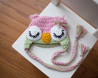Crochet Baby Girl Sleepy Owl Beanie Newborn Handmade Photo Photography Prop Baby Shower Gift
