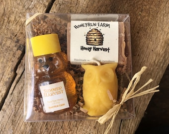 Gift Package - 2 oz Summer Honey, Honey Harvest Soap,  Owl Candle