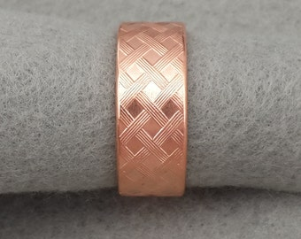 Wide Copper Men's Wedding Band, simple textured oxidized copper ring, woven pattern men's ring, basket weave