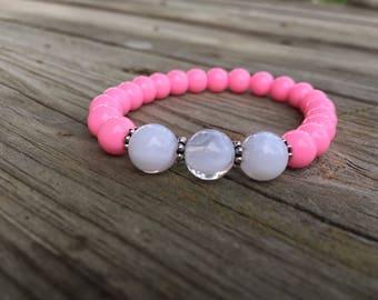 Stacking Bracelet, Bead Bracelet, Howlite Bracelet, Handmade, Stretch Bracelet, Gemstone Bracelet, Gift for Her, Boho, Marble Bracelet