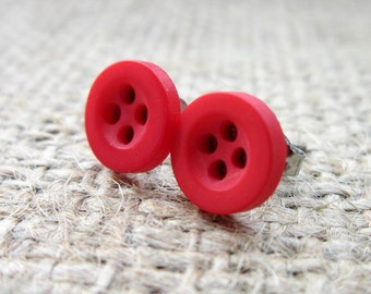 8mm Red Button Stainless Steel Stud Earrings - Posts Studs