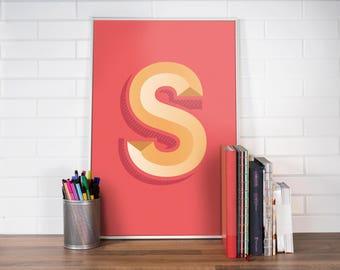 Minimalist print / Letter S / Cool poster / Cool wall prints