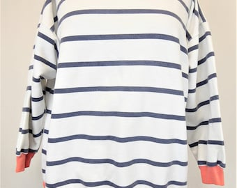 80s Striped Sweatshirt, Women's Size Large, White/Blue/Pink Long Sleeve Top, In Resource