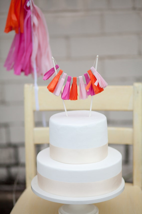 simple wedding cake toppers items similar to pink tassel garland cake topper on etsy 7501