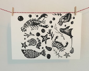Sea Creatures Handprinted Linocut
